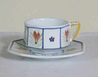 Quimper Cup and Saucer. Henriot Quimper French Pottery. French Country Dinnerware Hand Painted Panels Red Flowers Green Leaves Woman Center