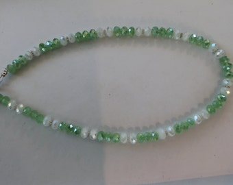 Green and white crystal necklace, 16 inches