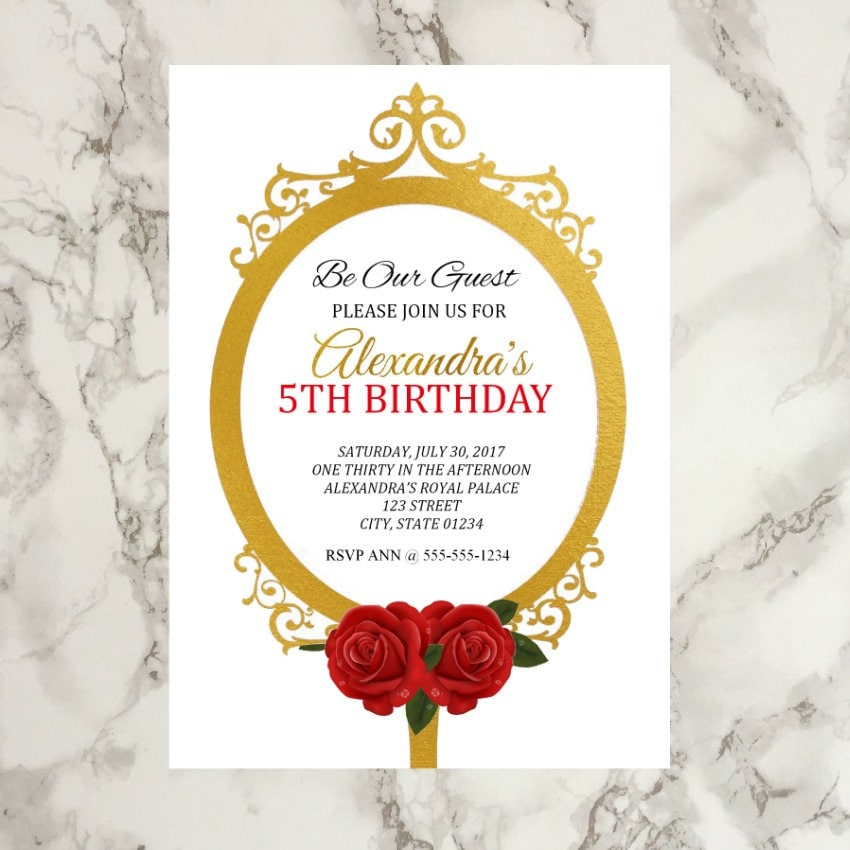 Be Our Guest Printable Birthday Invitation Beauty and the