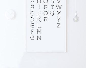 Nursery Alphabet Art-Nursery Wall Letters-Alphabet Poster Printable Art-Kids Room Wall Art Scandinavian ABC Print 24x36 Instant Download Art