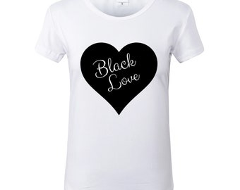 Black Love White Crew Neck Tshirt