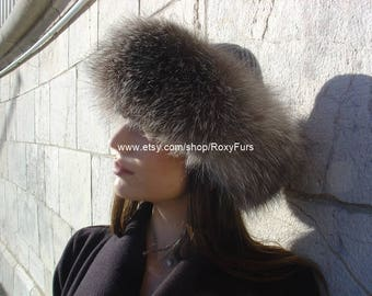 Grey Fox Fur & Cashmere Hat