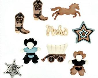Cowboy Western Push Pins/Thumbtacks or Magnets x9, Wild West Thumbtacks, Boy's Cork Board, Message Board Tack, Cubicle Decor, Gift for Boy