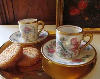 Set of Two Fine Concorde China Demitasse Cups and Saucers, Romantic Floral Demitasse Cups, Gilded Trim Demitasse Cups, USA 1950's Porcelain