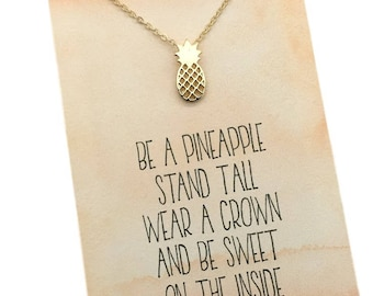 Silver or Gold Pineapple Necklace - Be a Pineapple, stand tall, wear a crown, be sweet, choose carded with message or in a gift box