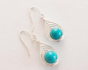 Turquoise Dangle Earrings, Turquoise Earrings, Drop Earrings, Sterling Silver Earrings, Turquoise Jewelry, Boho Earrings, Women Gift