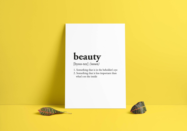beauty definition Room Decor Dorm Wall Art Dictionary Art