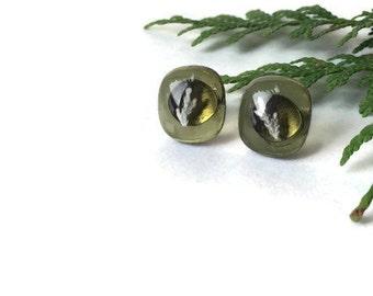 Green Stud Earrings, Olive Green Stud Earrings, Small Stud Earrings, Fused Glass Earrings, plant earrings, science earrings, eco jewellery