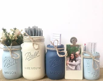Home Office Desk Accessories, Home Office Accessories, Office Gifts for Women, Mason Jar Desk Set, Rustic Desk Accessories, Mason Jar Decor