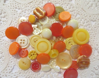 Vintage Orange and Yellow Buttons-Lot-Craft-Sewing