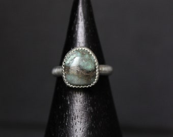 READY TO SHIP - Damele Sterling Silver Statement Ring #001 | Size 6 | Turquoise Variscite Green Damale | Boho Minimalist | Gugma Jewelry