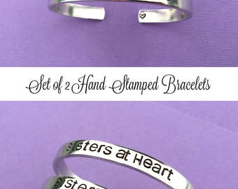 Sisters At Heart with Heart SET OF 2 Hand Stamped Bracelet, Long Distance Friends, Bangle, Personalized Gift, Sister Gift, Gift For Friend