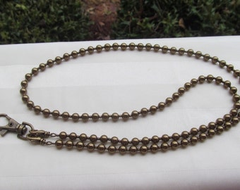 Brass Pearl ID Badge Lanyard Swarovski Pearl Beaded Lanyard Antique Brass Lanyard Necklace ID Badge Holder