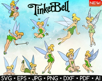 Tinkerbell Cliparts • Tinkerbell SVG • Disney Svg • Fairy Svg • Peter Pan Svg • Easy To Cut • Cricut • Dxf,Eps,Jpg,Png • Instant Download