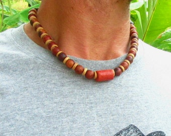 Red Coral & Wooden Beaded Necklace / Tribal Surfer Necklace / Mens Wooden Beaded Necklace / Choker Necklace / Ethnic Beaded Necklace