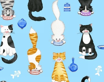 The Cat's Meow Fabric / Cats Fabric / Henry Glass 1141 / Cat Fabric / Fat Quarter and Yardage