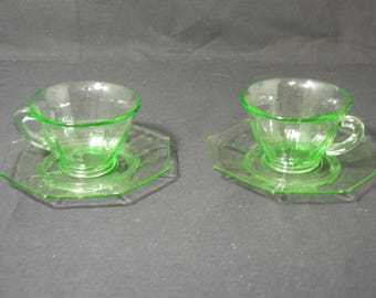 A.H. Heisey Octagon Blank # 1231 Ribbed Moongleam Green Cup and Saucer Set