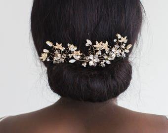 Wedding Hair Pins, Gold Hair Pins, Bridal Hair Pins, Gold Flower Hair Pins, Gold Twig Hair Pins, Gold Leaf Hair Pins