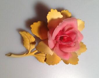 "1960s Vintage FLOWER Brooch Floral PIN FLOWER Power Pink Plastic Petals 4"" Tall Large 3 Dimensional Floral Brooch"