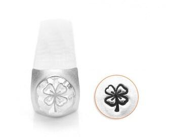 Four Leaf Clover Metal Stamp ImpressArt Design 6 mm Good Luck Charm Stamp or Great Saint Patricks Day Stamp, Steel Stamp