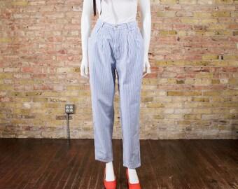 gloria vanderbilt pleated pants / high waist pants / pleated trousers / causal pants / engineer stripe / striped trousers / cotton trousers