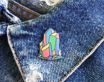 Handmade Soft Pastel Rainbow Raw Crystal Cluster Resin Lapel Pin