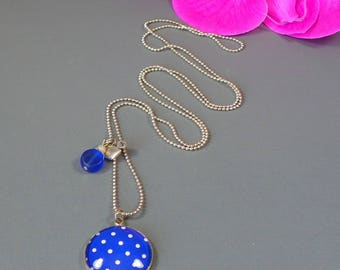 Night necklace - Cabochon - blue background with white dots - 75 cm