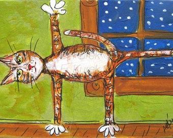 Yoga Cat Art Print - Cat Doing Yoga - Kitty Artwork - Yoga Decor - Yoga Art - Yoga Gift - Gift for Cat Lover - 5 x 7 Cat Print