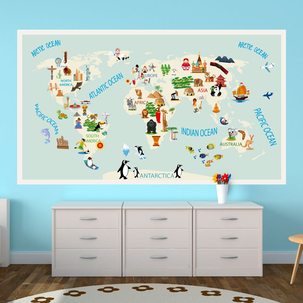 Kids world map repositionable adhesive fabric sticker for zoom gumiabroncs Gallery