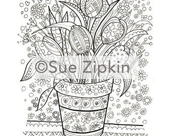 Sue Zipkin printable Floral Adult Coloring Page
