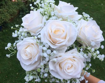 Wedding Bouquet of Champagne Ivory roses with gypsophila finished with ivory lace vintage wedding