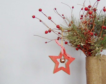 Red Star Ornament Wooden Outline With Silver Bell Vintage Craft Xmas