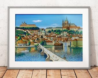 Prague, Czech Republic, Art, Giclee, Print, Art Print, Holiday, Charles Bridge, Giclee Print, Picture, Painting, MarkKaiserArt