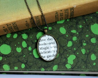 secret garden necklace - book page jewelry -  teacher pendant - gardener gift necklace - book club gift idea - literary holiday gift jewelry