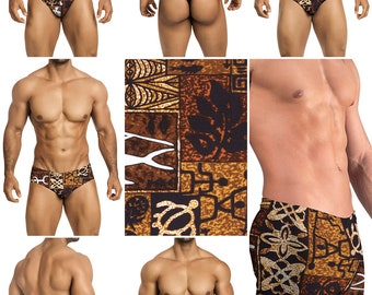 Brown Polynesian Print in 7 Styles - Thong-Bikini-Briefs-Squarecut-Boxer-Board - 226