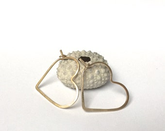 PETITE HEART HOOPS - Little Heart Hoop Earrings - Sterling Silver, 14k Gold, or Rose Gold Hammered Heart Hoops
