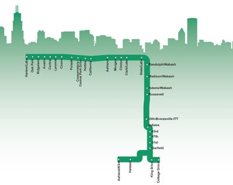 Chicago Green Line Map