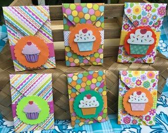 5 Cupcake Birthday Gift Card Holders