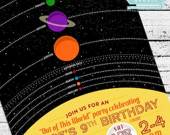 Retro Solar System Birthday Invitation