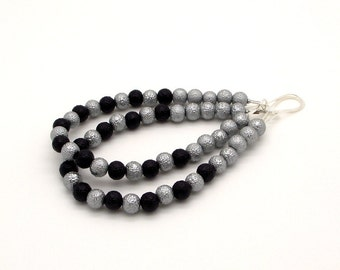 Silver and Black Sparkle Pearl Hoop Earrings – Gray and Black Pearl Earrings