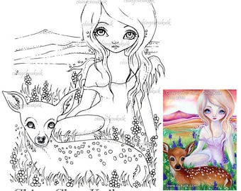 Hi Deer - Digital Stamp Instant Download / Animal Fawn Deer Fantasy Fairy Angel Art by Ching-Chou Kuik