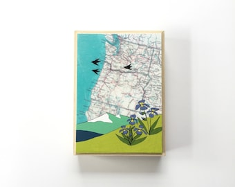 Pacific Coast Map Painting with Birds and Mountains / 5x7 Map Art by Rachel Austin