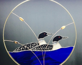 2 Loons  stained glass suncatcher panel