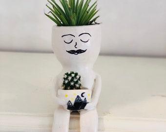 Handmade ceramic little dude planter/vase