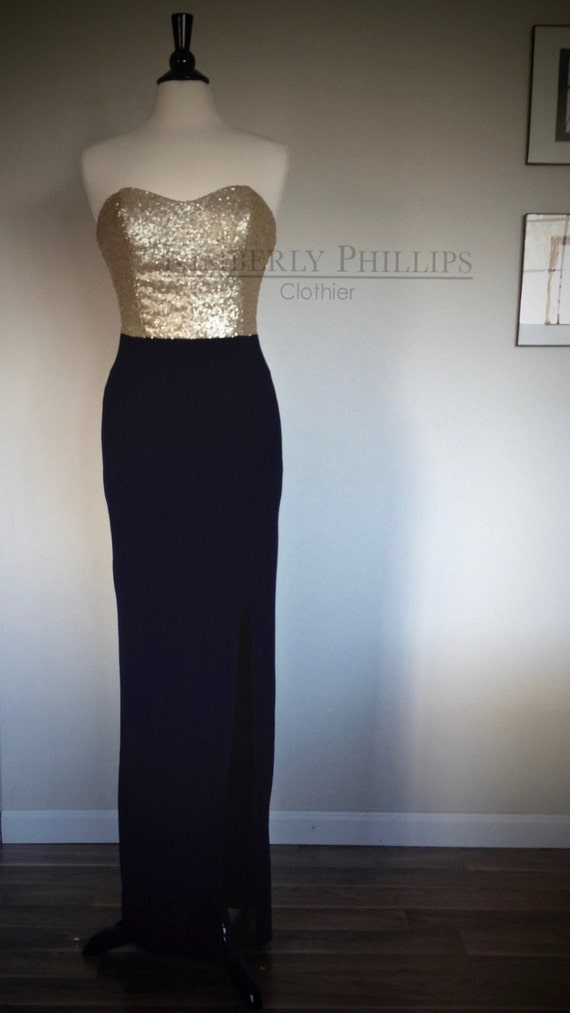 Long Sequin Bridesmaid Dress with Matte Gold Sequined Bodice, Navy Skirt and Slit, Assorted Colors- Made to Order- Made to Measure