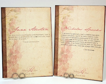 Romantic Quotes Vintage Book Cover Table Cards - Book Or Movie Themed Table Number Cards - Special Events - Weddings