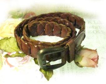 woven leather belt - braided belt - leather belt  - fashion belt - adjustable belt - woven belt -  waist up  to 34/35 inches  # B 10