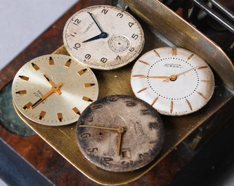 Set of 4 Vintage watch movements, watch parts, watch faces, cases
