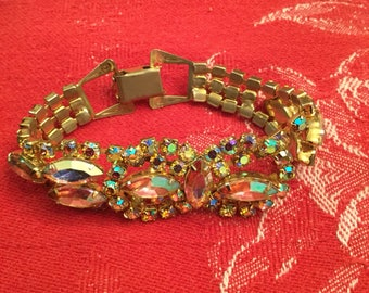 Vintage AB Aurora Borealis Rhinestone Bracelet 1960s