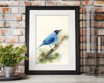Blue Bird ORIGINAL watercolor painting, bird art, watercolour painting of bird by CanotStop